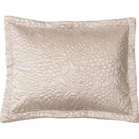 Belle maison gardenia embroidered quilted standard sham, Beige ()
