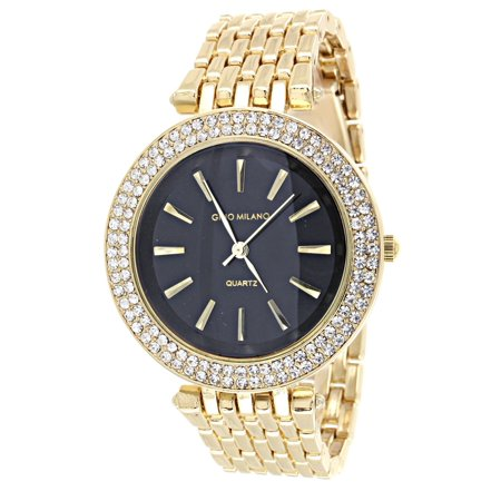 (Gold Tone Gino Milano Watch Black Dial Simulated Diamond Quartz Party Wear Ladies)