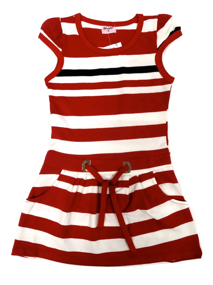 Wenchoice Little Girls Red Stripes Pockets Polo Dress