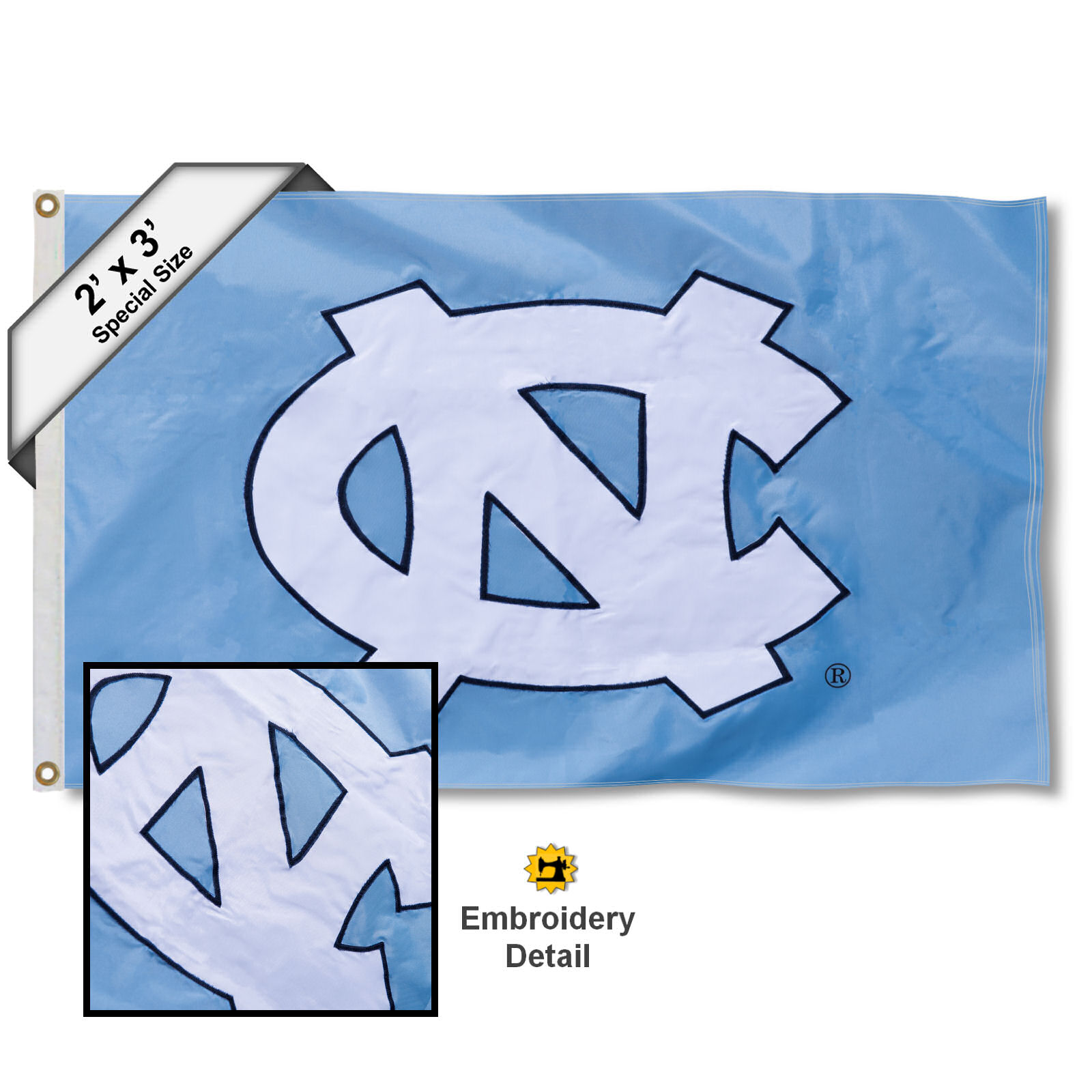 North Carolina Tar Heels 2' x 3' Applique Flag