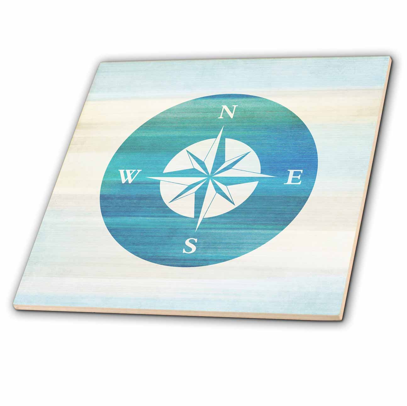 3dRose Aqua Nautical Compass beach theme art - Ceramic Tile, 6-inch