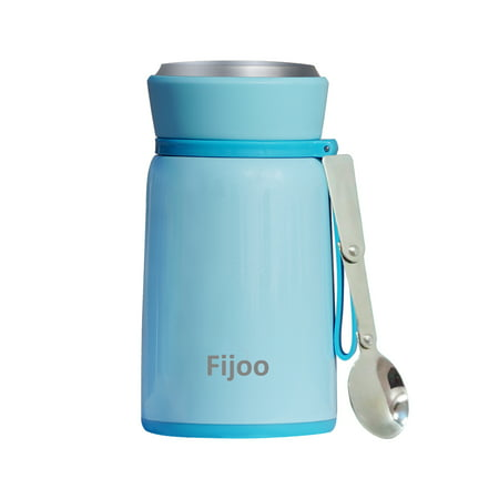 Best Stainless Steel Soup Thermos Food Jar + Folding Spoon - Triple Wall Vacuum Insulated - Hot Soup & Cold Meals Storage Container Jar - Kid's School Lunch, No Leaks, BPA Free (Blue, 27 OZ / 800