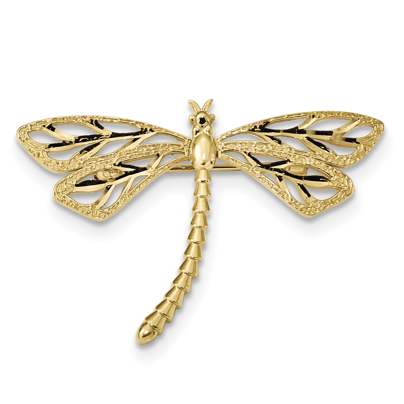 14K Diamond-cut Polished & Satin Dragonfly Pin by Core Gold