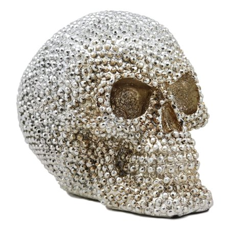 Theme To Halloween (Ebros Gift Realistic Chrome Silver Bead Stone Bling Skull Figurine 6.25