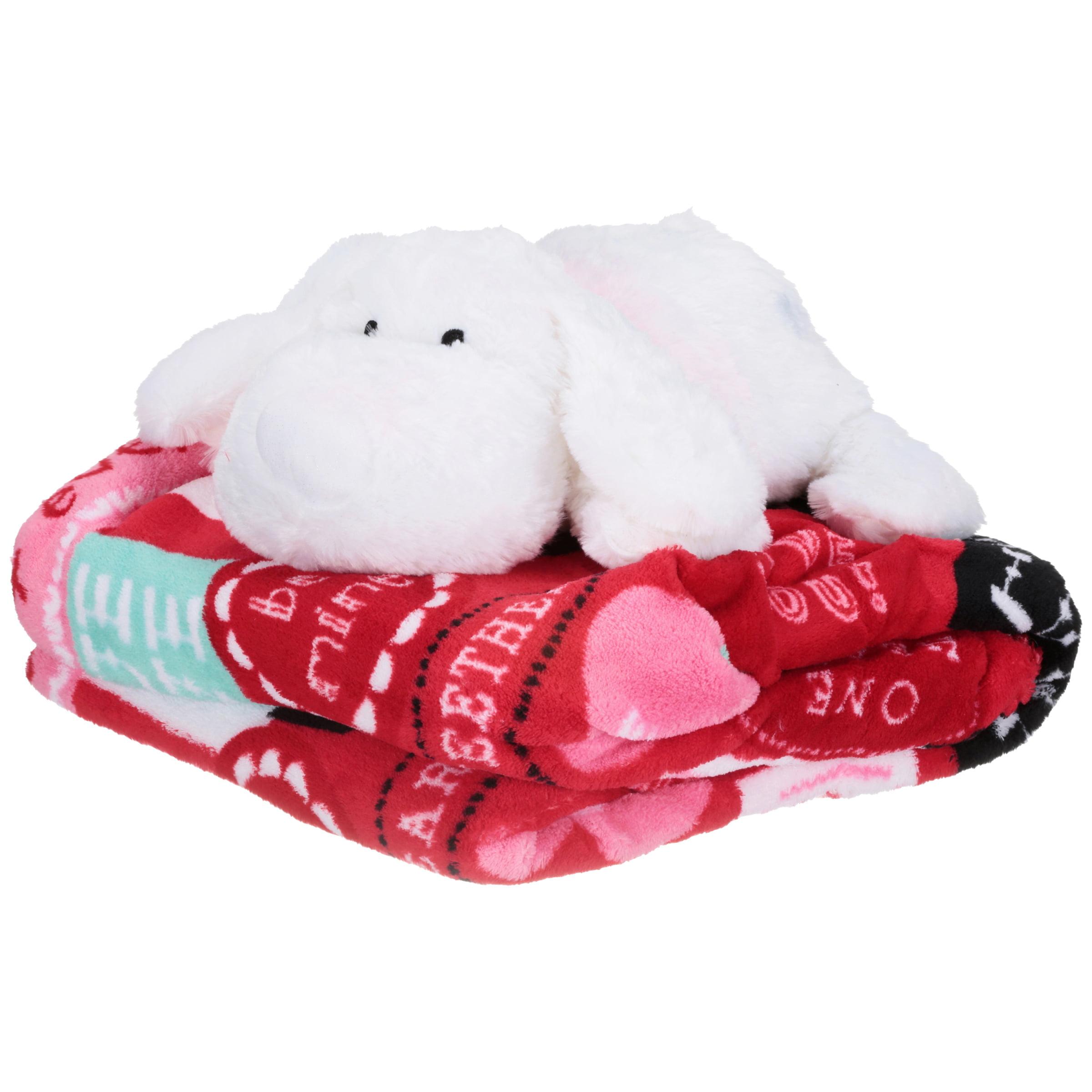 Valentine's Day Sentiments Throw & White Plush Puppy Set 2 pc Pack