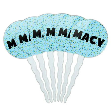Macy Cupcake Picks Toppers - Set of 6 - Blue Speckles (Macys Baum)