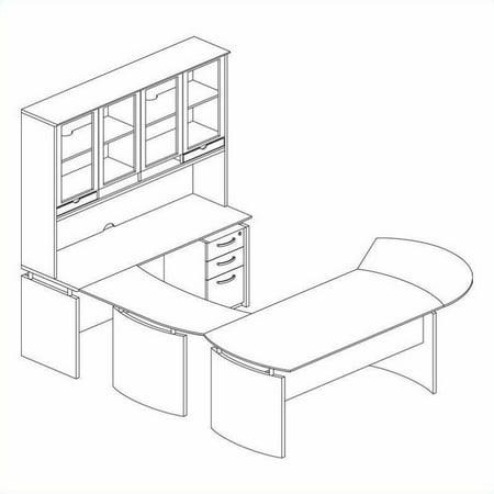 Mayline Right Shaped Desk Hutch Mahogany