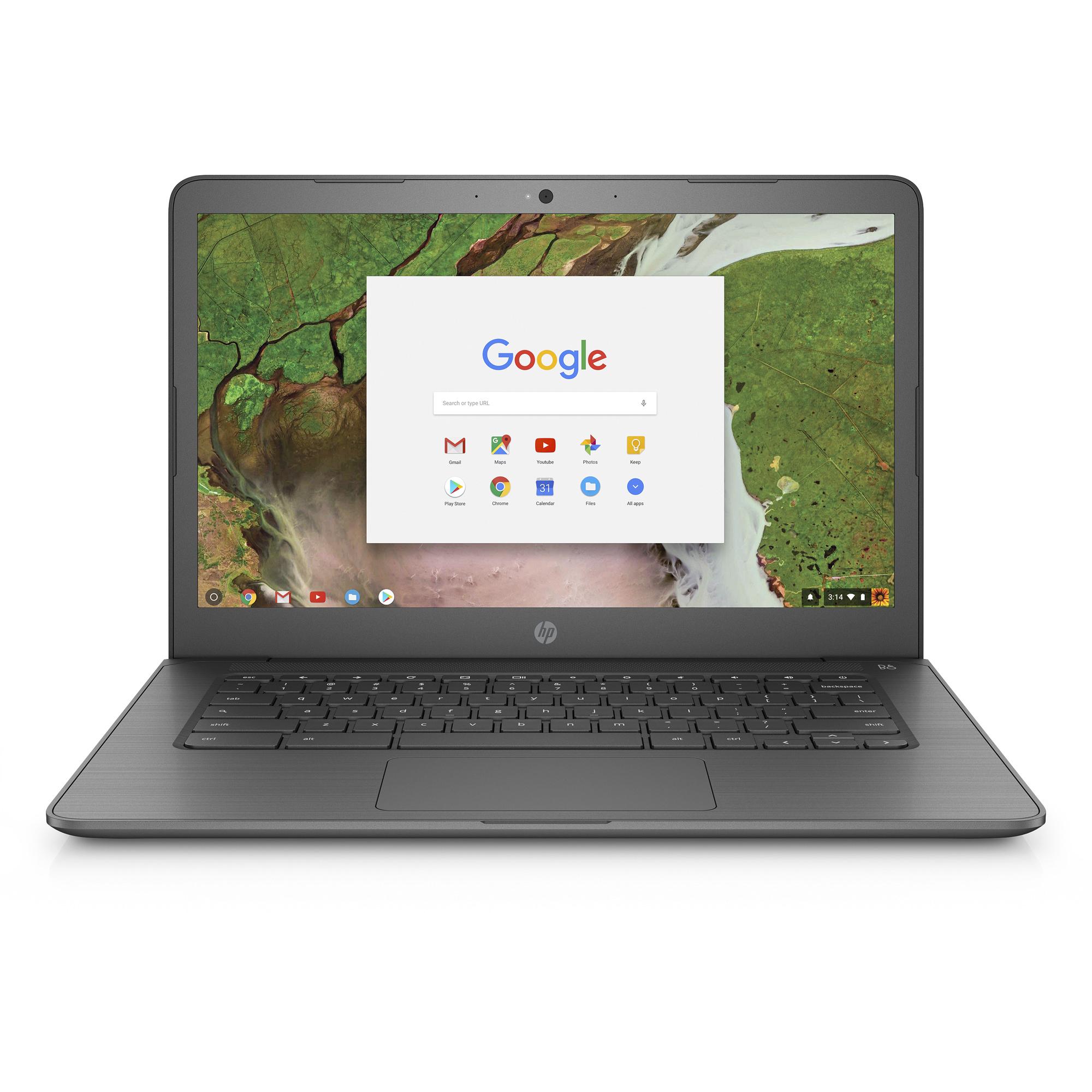 HP 14-CA020NR Chalkboard Gray 14 inch HD Chromebook, Chrome OS, Celeron N3350 DC Processor, 4GB Memory, 16GB eMMC Storage, UMA graphics, B&O Play