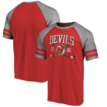 promo code b0498 4a787 New Jersey Devils Fanatics Branded Vintage Collection Line Shift Tri-Blend  Raglan T-Shirt - Red