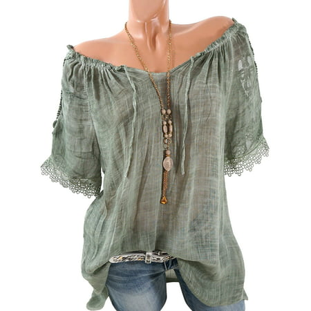 Plus Size Cold Shoulder Semitransparent Top for Women Daily Wear Loose Casual Crochet Short Sleeve Vintage T-Shirt