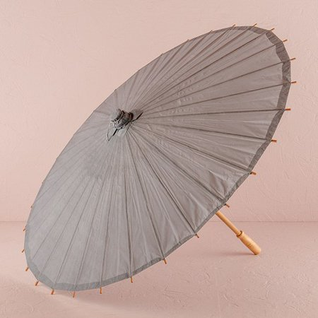 Paper Parasol With Bamboo Boning in Grey](Bamboo Paper)