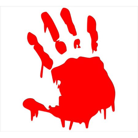 Bloody Hands (Two(2) Red Bloody Hand Print Car Decal Vinyl Window Wall Sticker Walking)