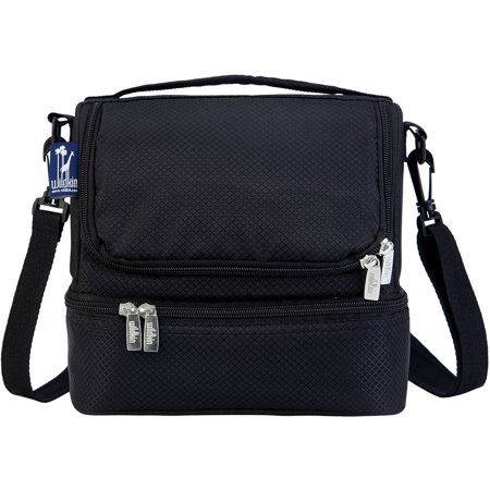 Wildkin Rip Stop Black Two Compartment Lunch Bag