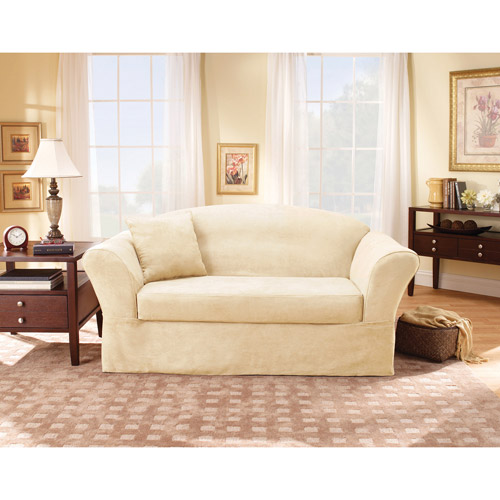 Surefit Suede Supreme 2-Piece Sofa Slipcover, Cream