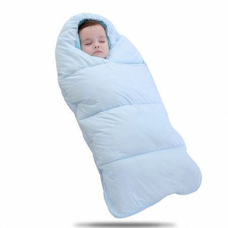 Baby Sleeping Bag Windproof Blanket Warm Quilt Autumn And Winter Outdoor Stroller Anti Kicked By The Artifact Blue