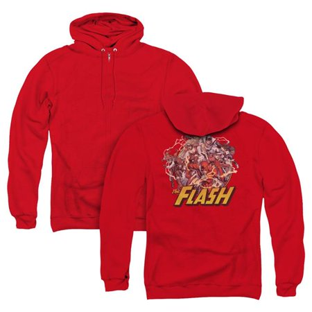 Trevco Sportswear JLA341BK-AZH-4 JLA & Flash Family Back Print Adult Zipper Hoodie   Red - Extra Large - image 1 of 1