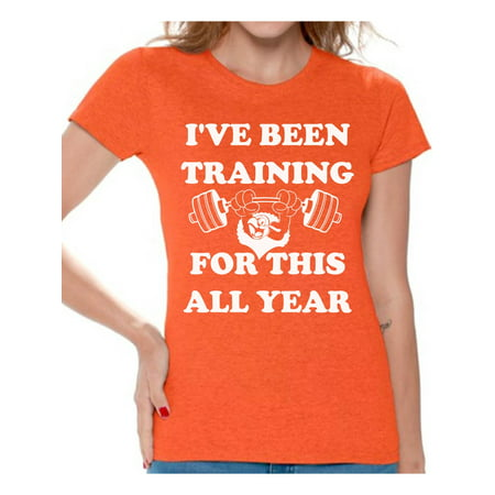 3ebc81d73cca7 Awkward Styles I've Been Training for this All Year T-Shirt Christmas Shirts  for Women Thanksgiving Shirts Thanksgiving Turkey Women's Holiday Top Funny  ...