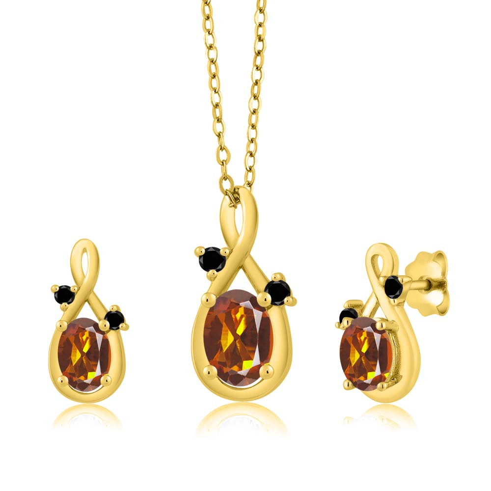 1.60 Ct Oval Orange Red Madeira Citrine 18K Yellow Gold Pendant Earrings Set by