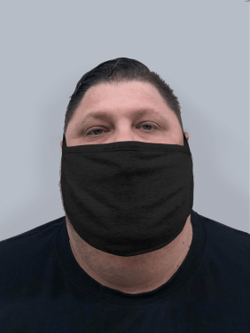 Mens Extra Large Face Mask | 3-Layer - Light Weight Cotton | Washable & Reusable | Made in USA | Mens XL - Black
