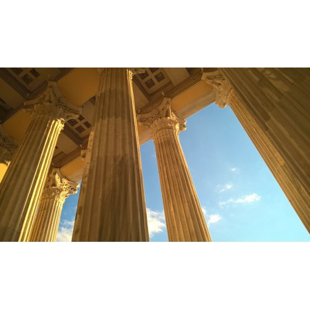 Greek Column Decorations (LAMINATED POSTER Perspective Sky Architecture Columns Greece Poster Print 24 x)