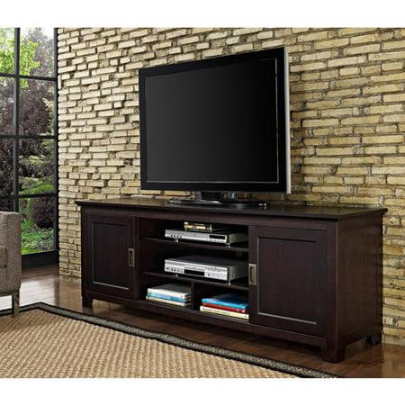 walker edison espresso wood tv stand with sliding doors. Black Bedroom Furniture Sets. Home Design Ideas