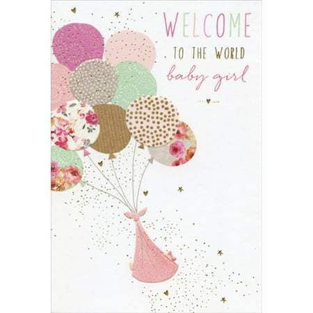 Pictura Pink Welcome Balloons Sara Miller New Baby Girl Congratulations (Welcome To The World Baby Girl Card)