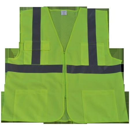 Closure Front Pocket - petra roc lv2-fsmb-s/m ansi class 2 front solid mesh back 4 pockets zipper closure safety vest, small/medium, lime solid/mesh back
