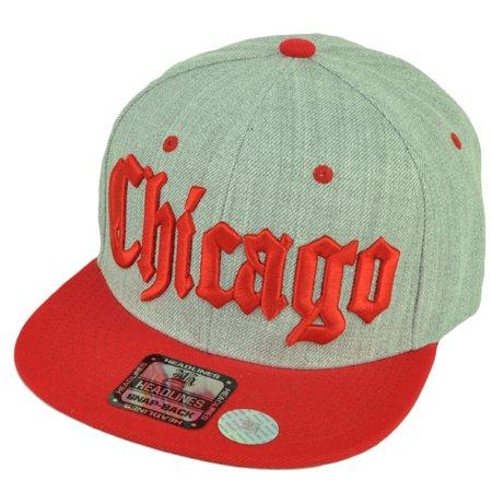 Chicago Windy City Mens Snapback Flat Bill Brim Hat Cap Heather Gray Red