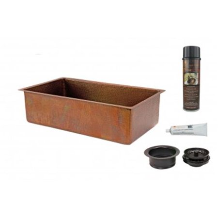33\'\' Antique Hammered Copper Kitchen Single Basin Sink with Matching Drain  and Accessories.