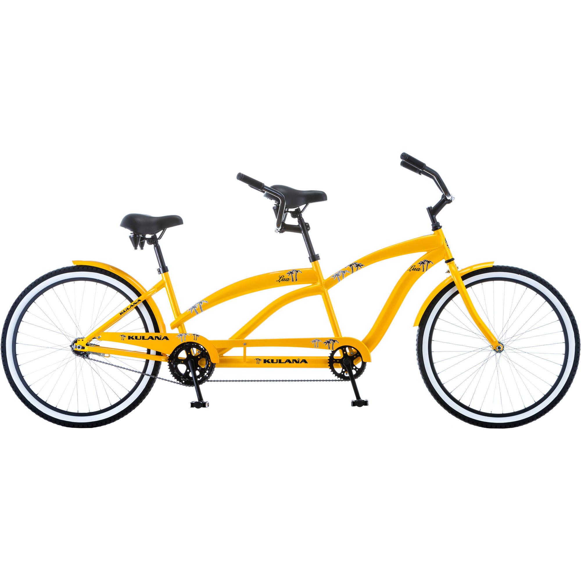 """Kulana Lua Tandem Bike 26"""" Yellow Steel Frame Spring Saddles"""