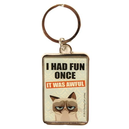 I Had Fun Once, It Was Awful - Grumpy Cat Rectangular Keychain by - Fun Keychains