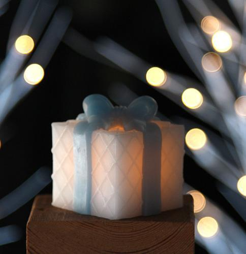 Flameless Mini Square Wax Gift Boxes With Blue Bows Set of 3 - Timer