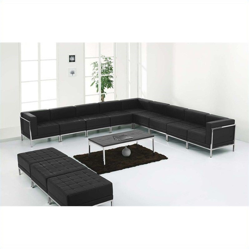 Flash Furniture Hercules Imagination 12-Piece Reception Configuration in Black