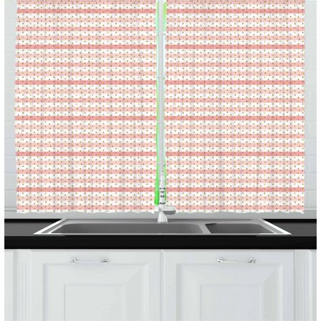 Rain Curtains 2 Panels Set, Pink and White Horizontal Crooked Stripes and Grape Seed Inspired Drops, Window Drapes for Living Room Bedroom, 55W X 39L Inches, Pink White and Yellow, by Ambesonne ()