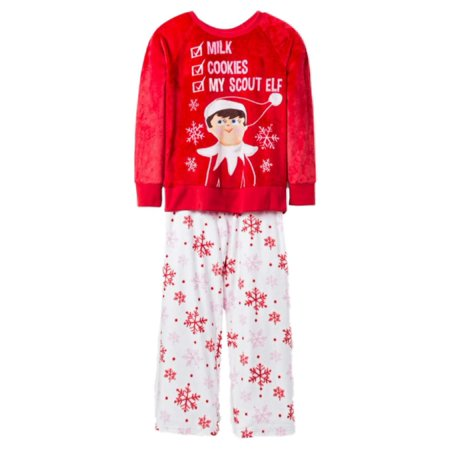 Girls Scout Elf Check List Christmas Pajamas Holiday Snowflake Fleece Sleep Set (Scout Elf)
