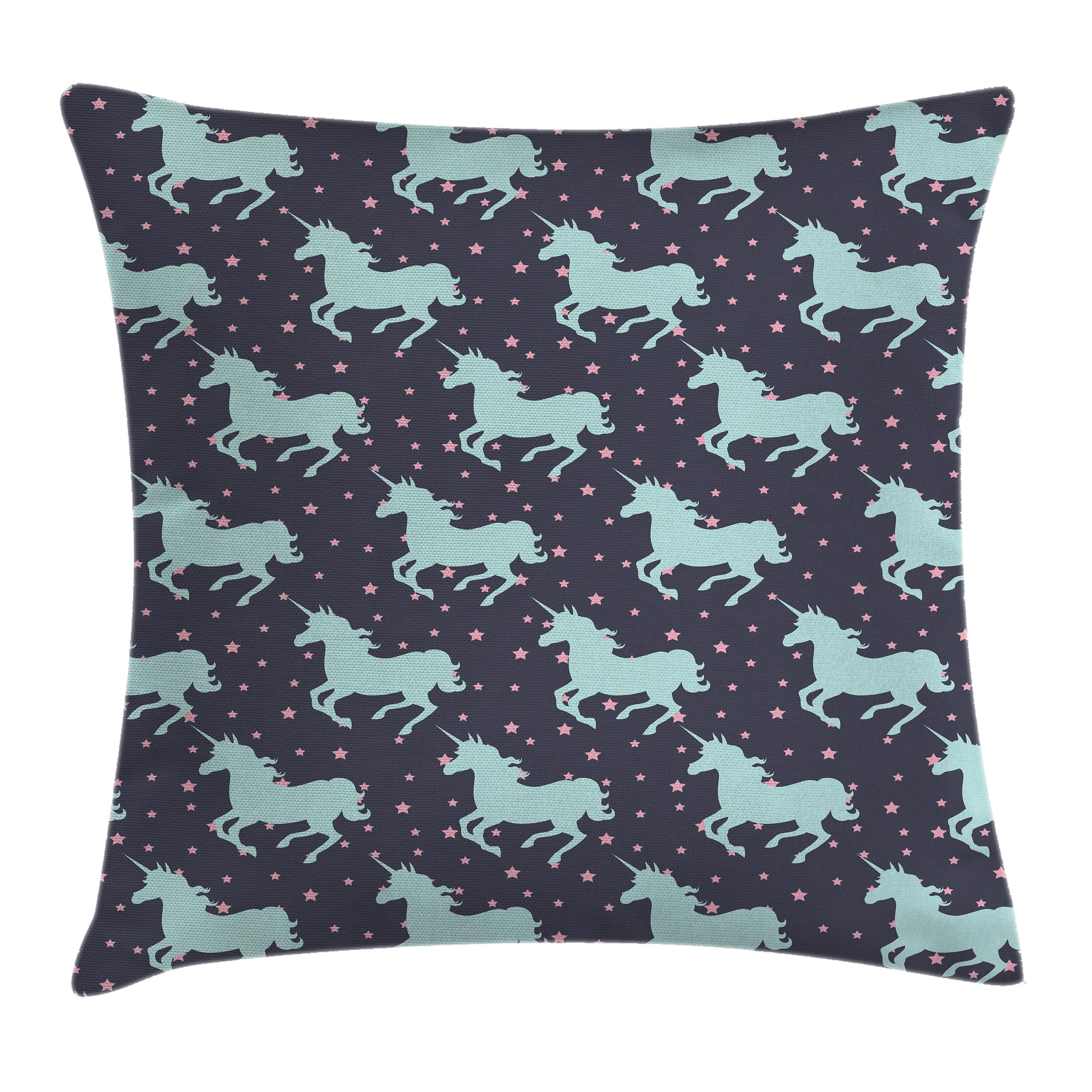 Children Room Throw Pillow Cushion Cover, Cute Unicorn with Twinkle Little Spot Stars and Dark Background Art, Decorative Square Accent Pillow Case, 16 X 16 Inches, Dark Blue and Pink, by Ambesonne