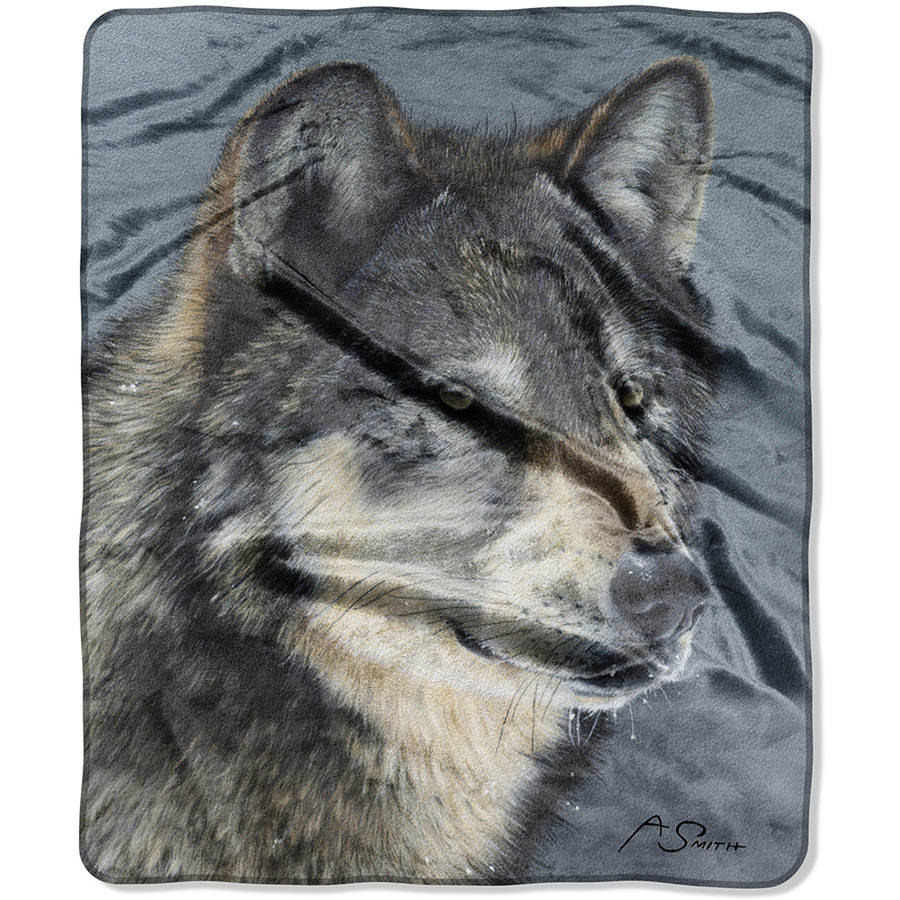"""The Northwest Company American Heritage Royal Plush 50"""" x 60"""" Cold Stare Raschel Throw Blanket, 1 Each"""