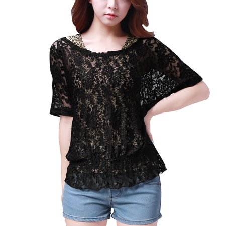 Ladies Flower Lace Scoop Neck Loose Shirt w Leopard Print Tank Top Black XS