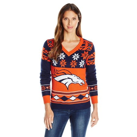 NFL Women's V-Neck Sweater, Denver Broncos, Small, 100% Acrylic By Forever Collectibles (Acrylic Sweaters)