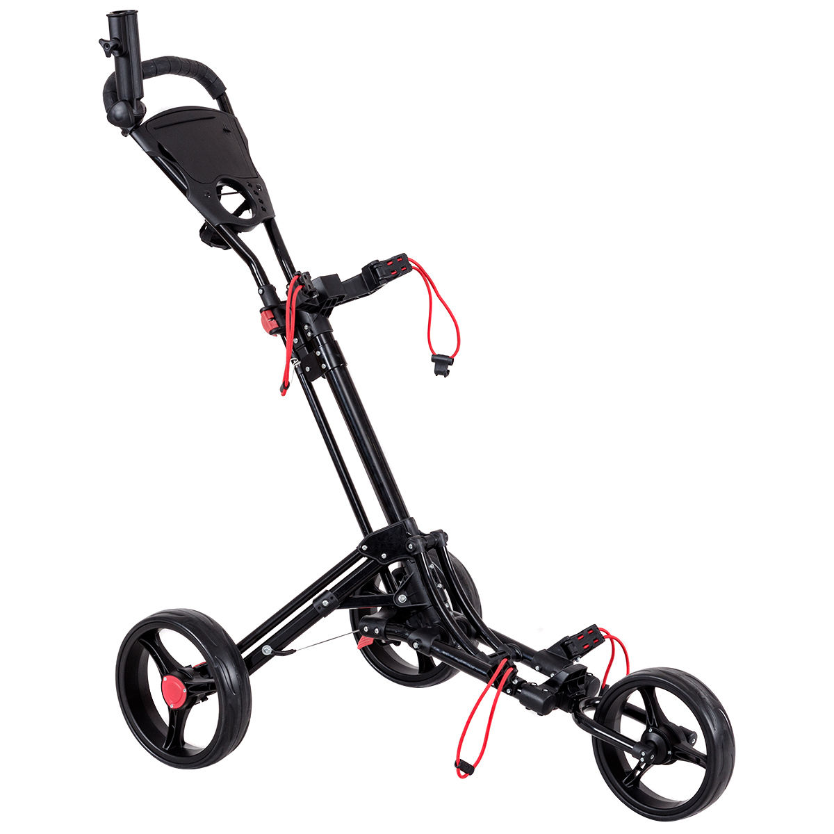 Costway Foldable 3 Wheel Steel Golf Pull Push Cart Trolley Club w/ Umbrella Holder
