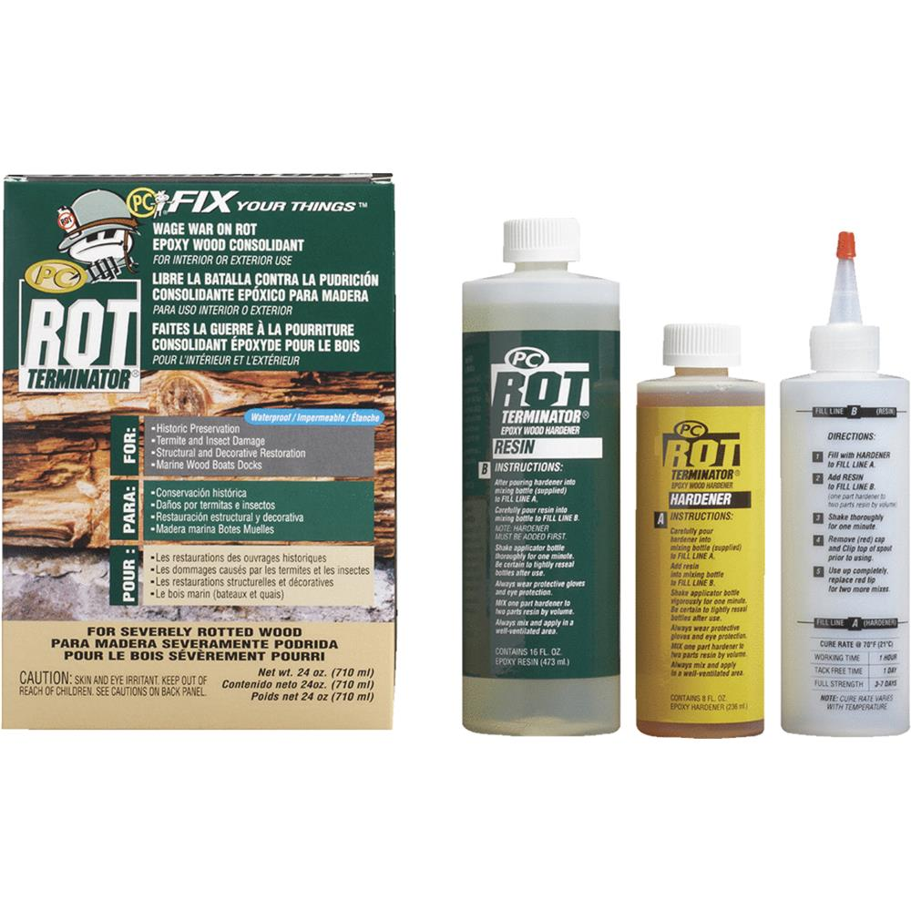PC Rot Terminator Epoxy Adhesive, Bottle, 24 oz., Amber PC PRODUCTS 240618