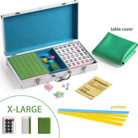 144 Pattern (X-Large Numbered Tiles Mahjong Game Set. 144 Lucky Dog Pattern Aluminum case Complete set with pushers & table cover Gift / Birthday)