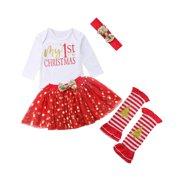 Infant Baby Girls My First Christmas Tutu Dress Skirt Romper Leg Warmer Headband Outfit Set