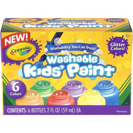 Crayola; Washable Glitter Paint; Art Tools; 6 ct.; Great for Classroom Projects - Halloween Paint Projects