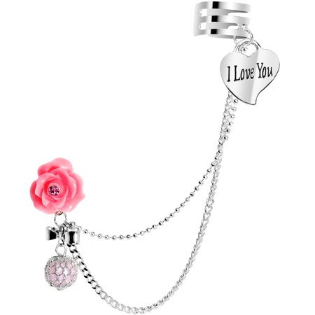 Body Candy Stainless Steel Pink Rose I Love You Heart Earring to Ear Cuff Chain Set (Pink Ear Cuff)