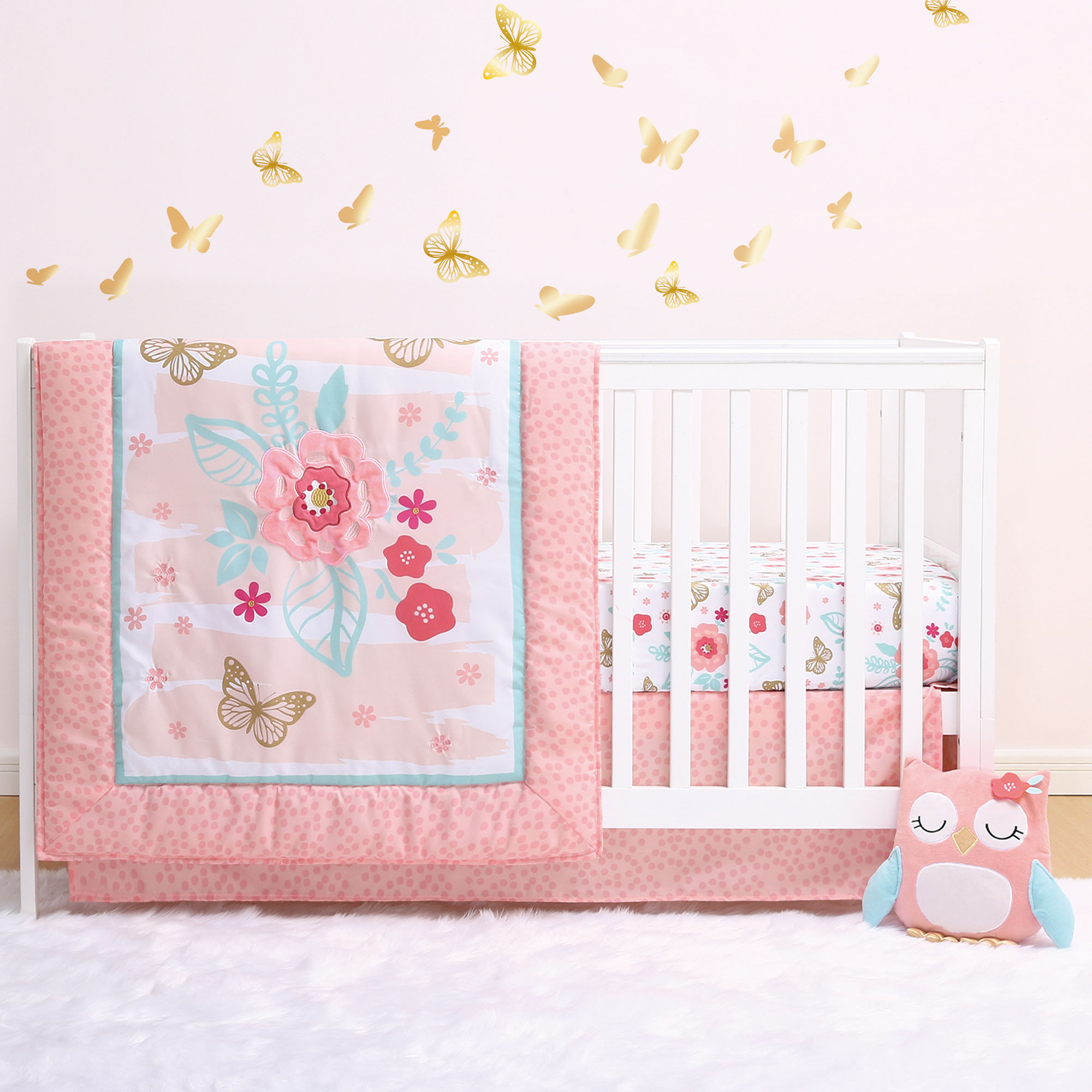 Aflutter 4-Piece Butterfly and Flowers Floral Owl Plush Baby Crib Bedding Set by Little Haven