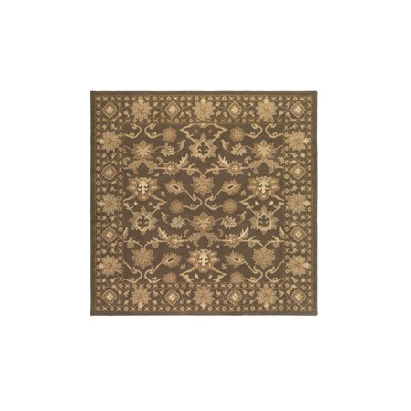 4 Cornelian Tumbleweed Brown And Creme Hand Tufted Square Wool Area Throw Rug