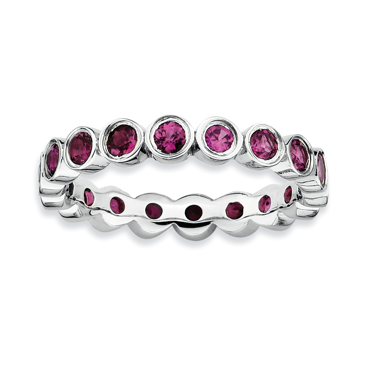 Roy Rose Jewelry Sterling Silver Stackable Expressions Rhodolite Garnet Ring ~ Size 6 by
