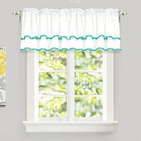 "Fur Ruffle - DriftAway Pom Pom Ruffle Window Curtain Valance for Kids Room, Rod Pocket, One Panel, 52""x18"" Plus 2"