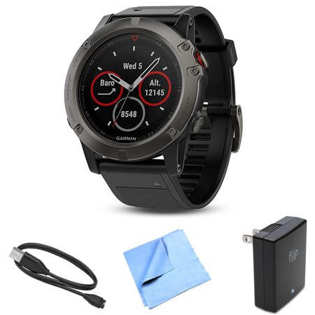 Garmin Fenix 5X Sapphire Multisport 51mm GPS Watch Slate Gray with Charging Kit